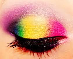 gorgeous eye make up rainbow retro 80s style