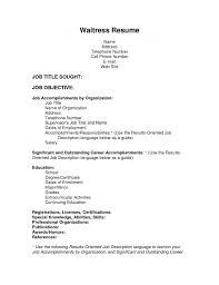 Sample Resume Waitress Food Service Waiter Samples For Cocktail Job