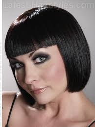 cleopatra look blunt bob with fringe