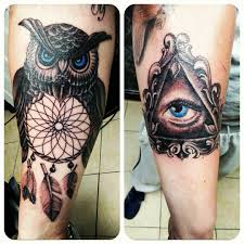 Black Ink Dreamcatcher Owl Antique Frame Illuminati Eye Tattoo On