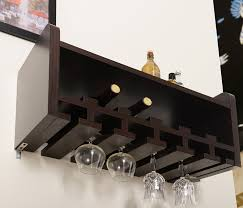 espresso wood wall mounted wine glass rack with 6 slots holder for wine glass organizer idea