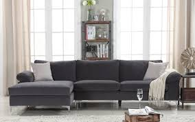 grey velvet sectional. Velvet Sectional Sofa Amanda Modern Large Vlv Gry Stg Grey Leather Chaise Longue Vancouver And Patio C