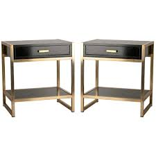 nite stands pair of french oak and bronze tables