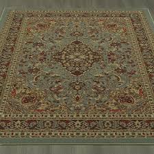 ottomanson ottohome collection persian heriz oriental design with non skid rubber backing area rug 5 0 x6 6 seafoam ottomanson