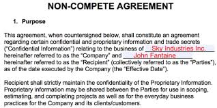 Nda Non Compete Template Non Compete Agreement Templates Eforms Free Fillable Forms
