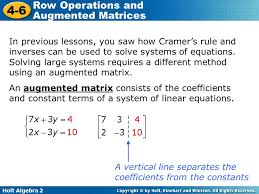 in previous lessons you saw how cramer s rule and inverses can be used to solve