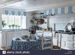 Themed Kitchen Blue And White Themed Kitchen With Aga Dining Table And