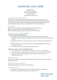 Professional Level Resume Samples And Examples At Resumestime