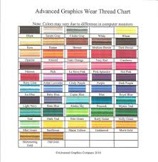 Almond Color Chart Thread Color Chart Advanced Graphics Wear Promotions