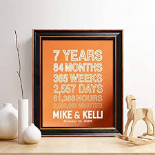 personalized 7th copper anniversary gift for him or her 7 years and