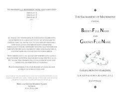 Booklet Program Template Catholic Church Wedding Booklet Template Mini Bridal Free