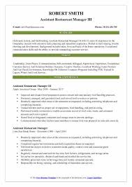 Fast Food Restaurant Manager Resume Assistant Restaurant Manager Resume Samples Qwikresume