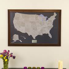 earth toned us travel map  framed united states map