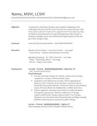 Social Worker Resume Example Amazing Social Work Resume Sample Objective Worker Examples With Regard To
