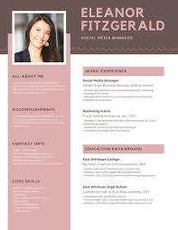 Modern Resume Temllates Pink Brown Simple Photo Modern Resume Templates By Canva