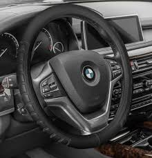 leather car steering wheel cover car truck suv black 0