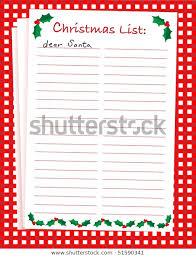 Blank Christmas List Vector Illustration Dear Santa Blank Christmas Stock Vector