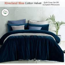 riverland blue cotton velvet quilt cover set or eurocase queen king super king