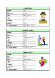 Personal Info Cards Asking For And Giving Personal Information Cards Part 1 Esl