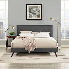 king platform bed. Modren Bed Amaris King Platform Bed With Round Splayed Legs In Gray  Lifestyle  Intended