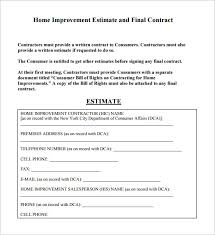 construction estimate sample 6 contractor estimate templates free word excel pdf