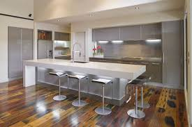 Contemporary Butcher Block Dining Table Pendant Light Island Design  Terrafic Oak Kitchen Laminate Wood Floor Kitchens Island Sinks