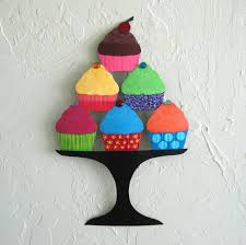 metal wall art cupcake sculpture recycled metal kitchen wall decor baker chef colorful whimsical 9 x 14 on metal kitchen wall art decor with metal wall art cupcake sculpture recycled metal kitchen wall decor