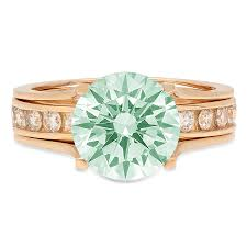 Light Green Stone Rings Details About 2 89 Round Light Sea Green Promise Bridal Ring Band Set Sliding 14k Yellow Gold