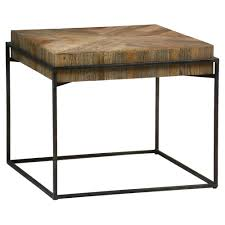 cynthia industrial rustic reclaimed wood top square metal coffee side table kathy kuo home