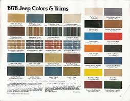 Cherokee Color Chart 1978 Jeep Colors And Trims Jeep Cj7 Jeep Truck Jeep Cherokee