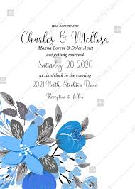 Wedding Invitation Card Template Blue Floral Anemone Pdf 5x7 In Customize Online