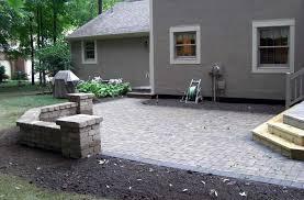 contemporary paver patio with deck