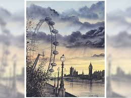 atmospheric london sunset view of london eye westminster