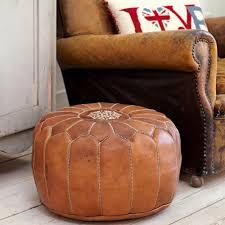 brown tan moroccan leather pouf pouffe