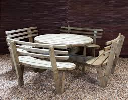 round wooden picnic tables