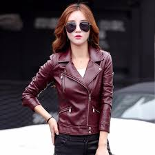 leather jacket women short design motorcycle leather jackets slim 2017 las black gray and red leather