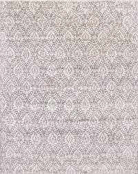 damask pattern grey ivory handknotted rug