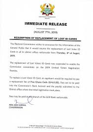 Pay For A Resumes Ec Resumes Replacement Of Voter Id Cards August 8 Ghana Waves