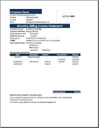 Monthly Billing Invoice Statement Template Word Excel
