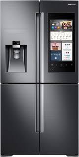 samsung tv refrigerator. samsung family hub 2.0 22.0 cu. ft. 4-door flex french door counter-depth refrigerator black rf22m9581sg - best buy tv