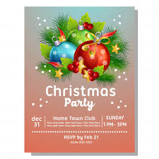 Christmas Invitation Card Christmas Party Invitation Card With Light Ball Vector