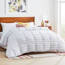 linenspa grey white stripe cal king down alternative microfiber comforter