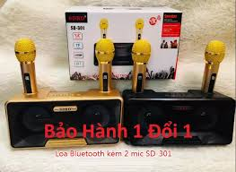 Loa bluetooth bass mạnh giá rẻ, Loa Bluetoth Karaoke Mini Sd-301 + Tặng Kèm 2  Mic , Thoải Mái Song Ca Cùng Bạn Bè Người Thân, Phù Hợp Hát Karaoke Tại Nhà,