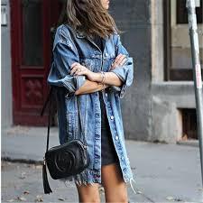 meihuida 2018 new style fashion women s on hole patch denim pocket loose ripped jeans long jacket coat outwear c19041702 rain jackets waterproof jacket