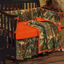 blaze orange camouflage crib bedding set