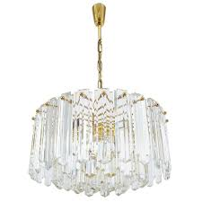j t kalmar tiered crystal glass and gold brass chandelier lamp austria 1960