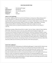Director Of Marketing Job Description. Manager Job Description ...