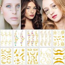 Eye Makeup Sticker Designs Flash Face Makeup Temporary Tattoo Body Art Sticker Gold Metal Star Butterfly Moon Mustache Design Freckle Holiday Party Tattoo Europe Style Temporary