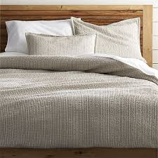 Crate and Barrel Exclusive. Tessa Flax Duvet Covers and Pillow Shams