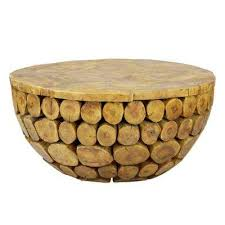 sumatra solid natural teak wood round deco coffee table